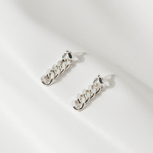 925 |Handcrafted| Flat Link Chain Drop Earrings