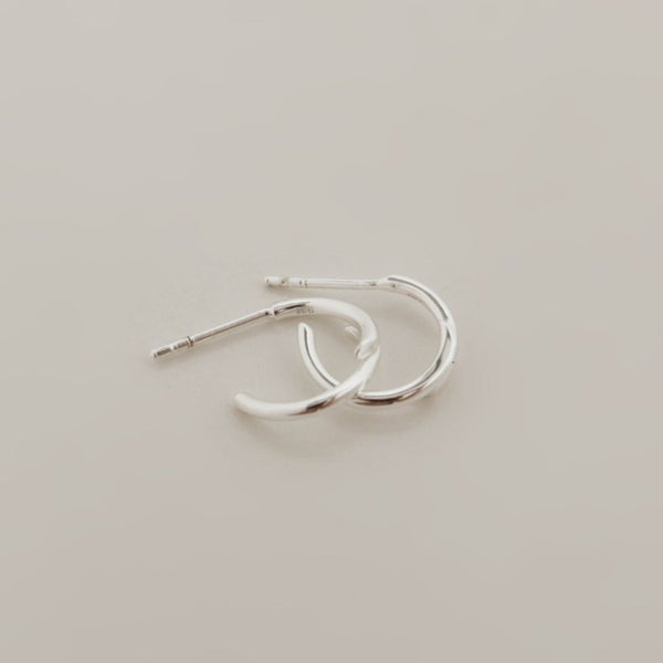 925 |Handcrafted| Double Line Style Crescent Earrings