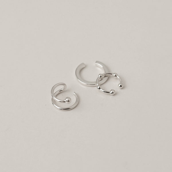 925 |Handcrafted| Tri Combi Ear Cuff Earrings