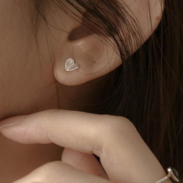 925 Folded Heart Earrings