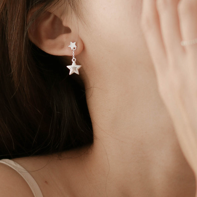 925 Asymmetrical Lucky Star Drop Earrings