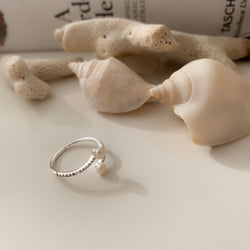 925 Duo Pearl Open Ring <br><font>Size 12</font>