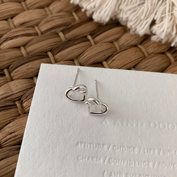 925 |Handcrafted| Open Knot Heart Earrings