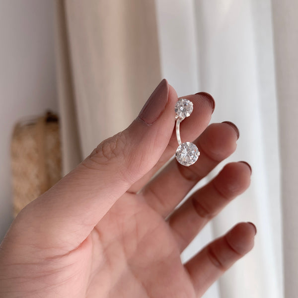 925 CZ Ear Jacket Earrings