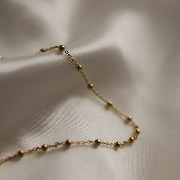 925 Beads on Chain Necklace, 18K Gold Vermeil