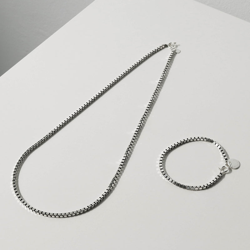 925 Box Chain Mens Necklace