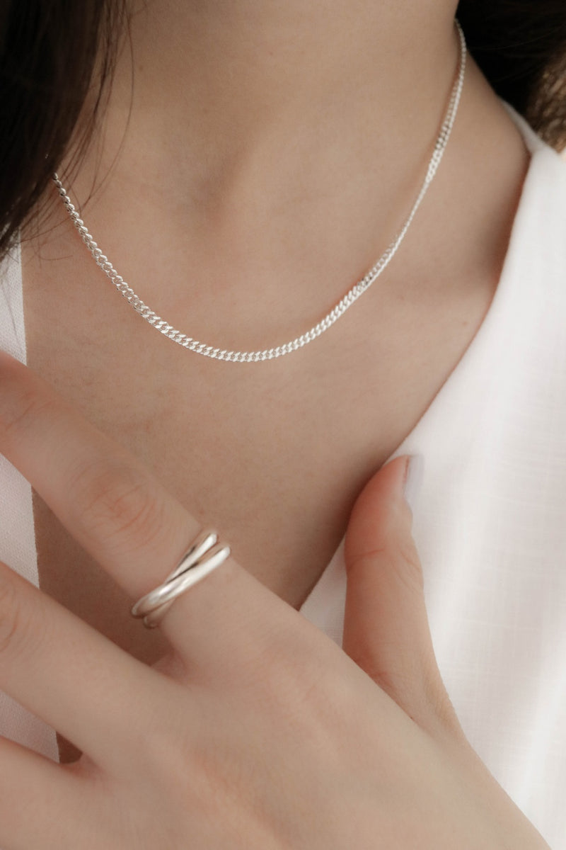 925 Flat Link Chain Necklace with Extensions