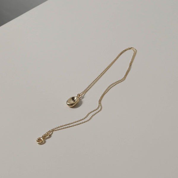 925 |Italy| Cable Chain Necklace with Bean Pendant, Gold Vermeil