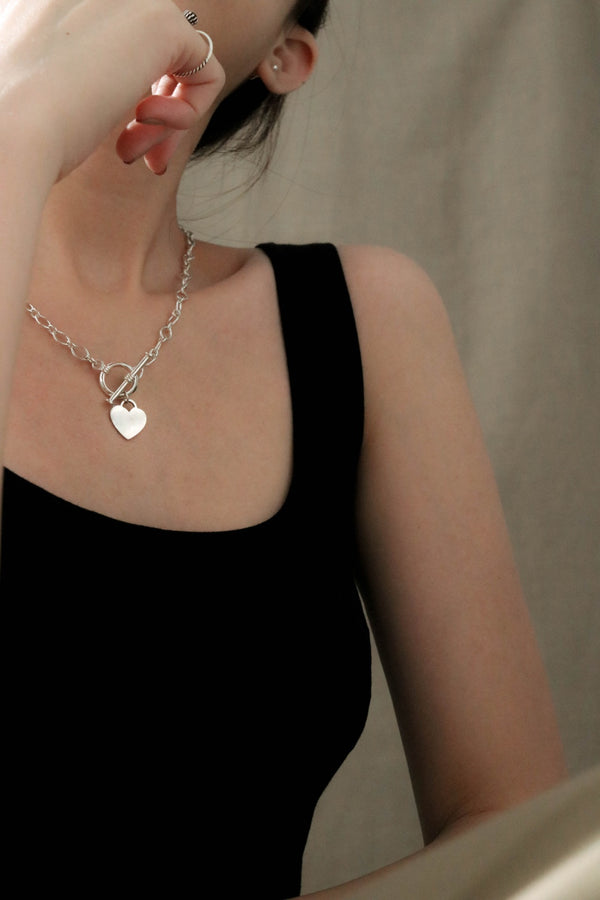 925 Handcrafted Silver Marquise Chain Necklace with Love Pendant