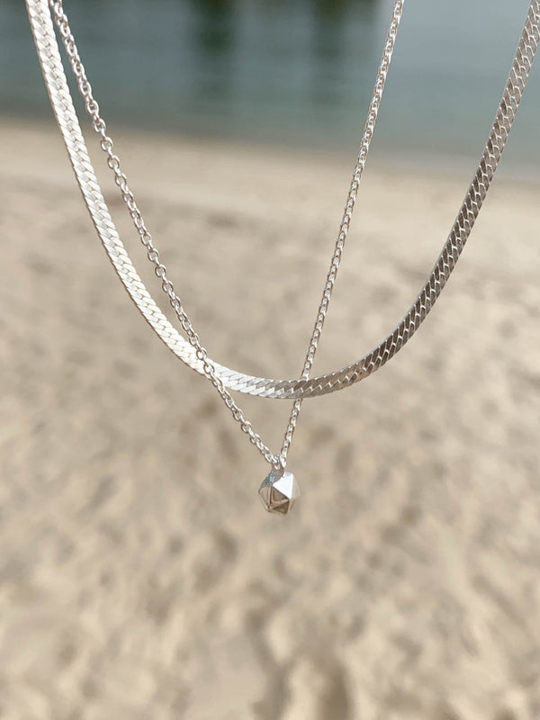 925 Double Curb Flat Chain Necklace