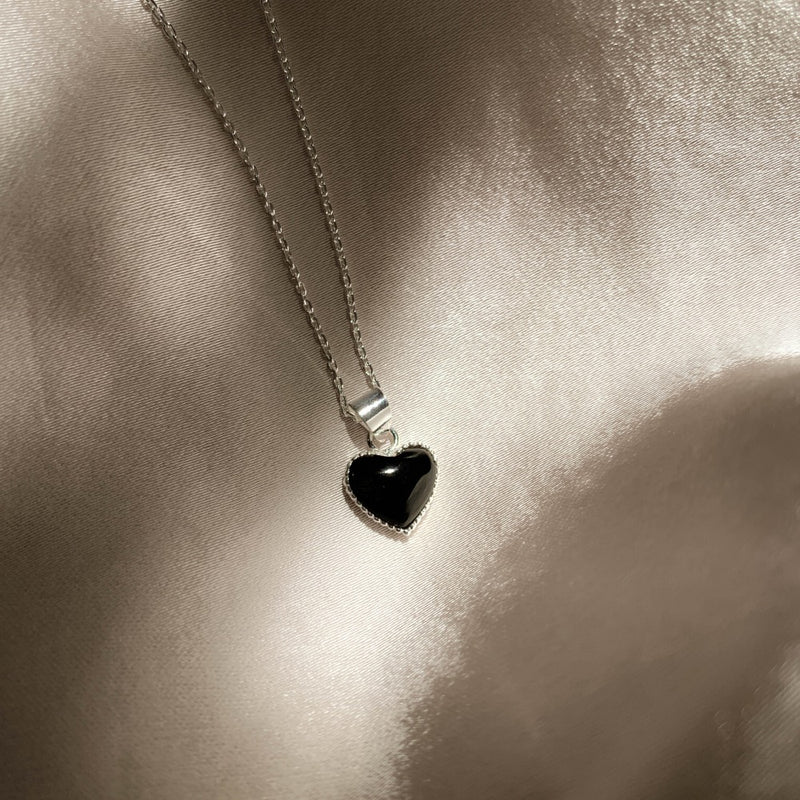 925 |Handcrafted| Onyx Love Pendant Necklace