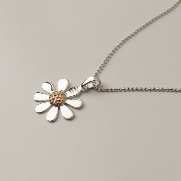 925 Two-Tone White Dryas Pendant Necklace