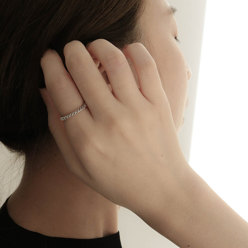 925 |Handcrafted| Spiral Rope Ring<br> <font>Size 12</font>
