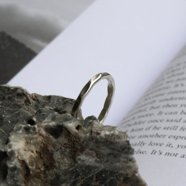 925 |Handcrafted| Hammered Silver Ring<br> <font>Size 12</font>