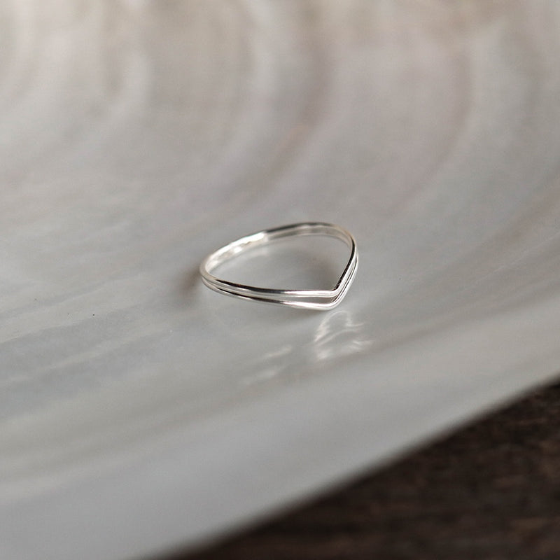 925 |Handcrafted| Duo V Shape Ring<br><font>Size 11</font>