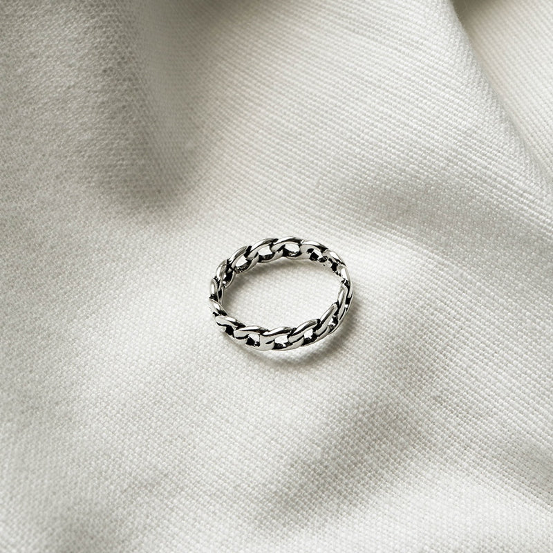 925 |Handcrafted| Flat Chain Ring <br><font>Size 11•13•14•15</font>