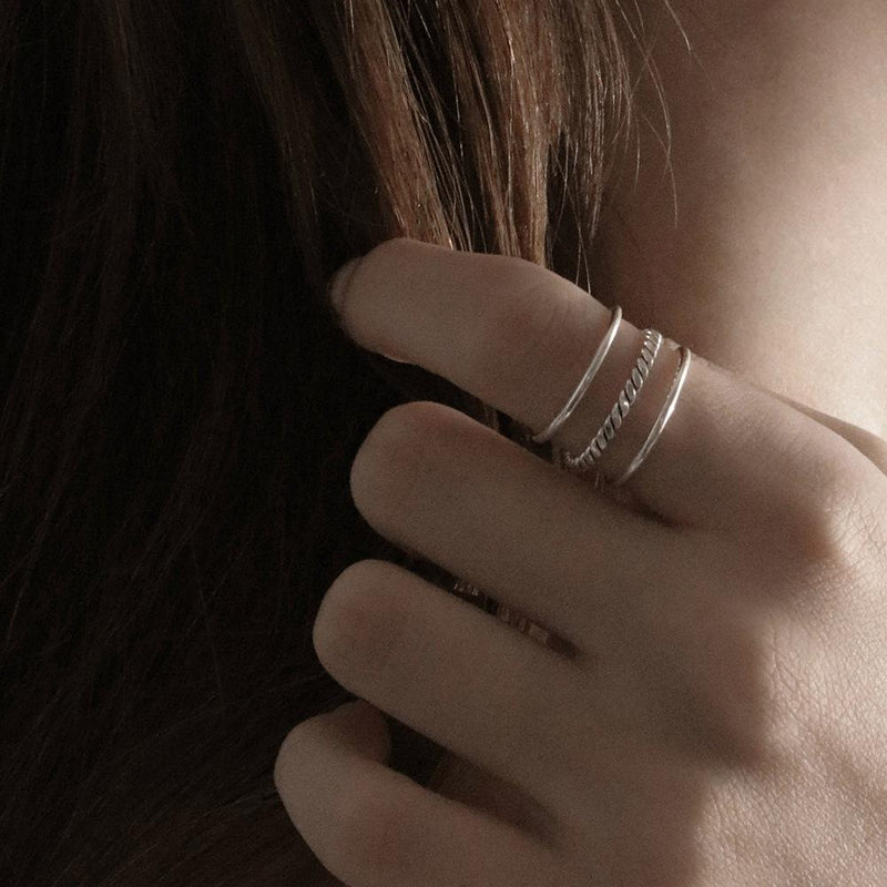925 |Handcrafted| Three Tier Free Size Ring
