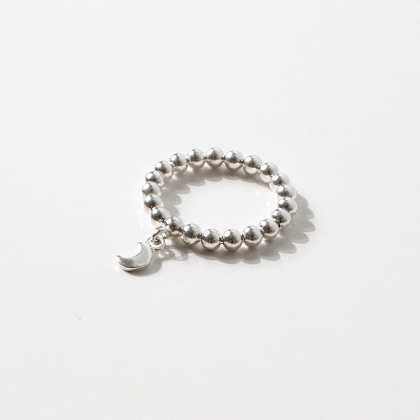 925 |手工製作| Beads Ring with Crescent Moon <br> <font>尺寸12•14•16 </ font>