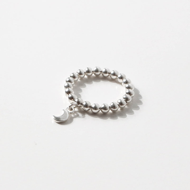 925 |Handcrafted| Beads Ring with Crescent Moon<br><font>Size 12•14•15•16</font>