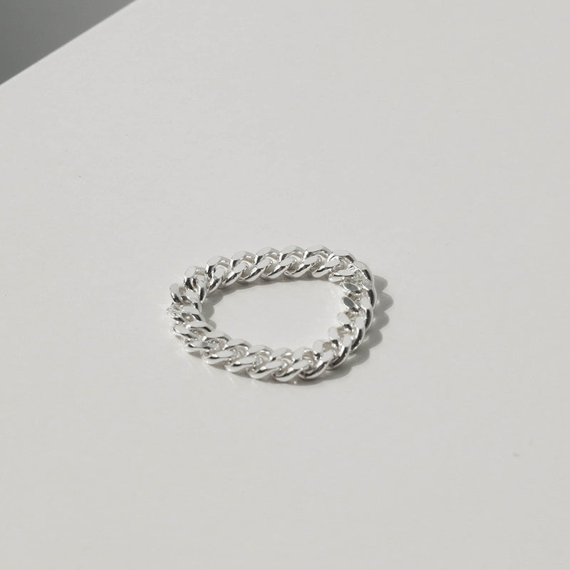 925 |Handcrafted| Flat Link Chain Ring <br><font>Size 10•11•14•16</font>