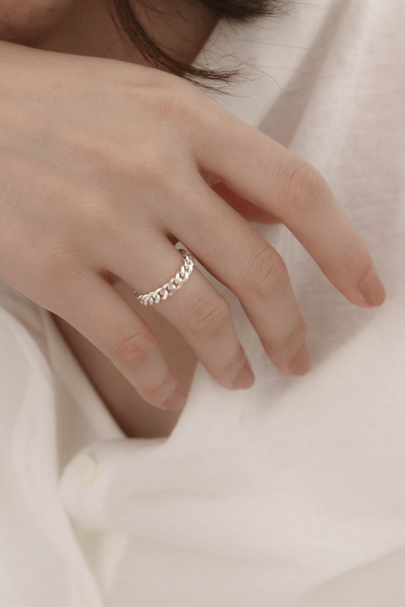 925 |Handcrafted| Flat Link Chain Ring <br><font>Size 10•12•14•16</font>