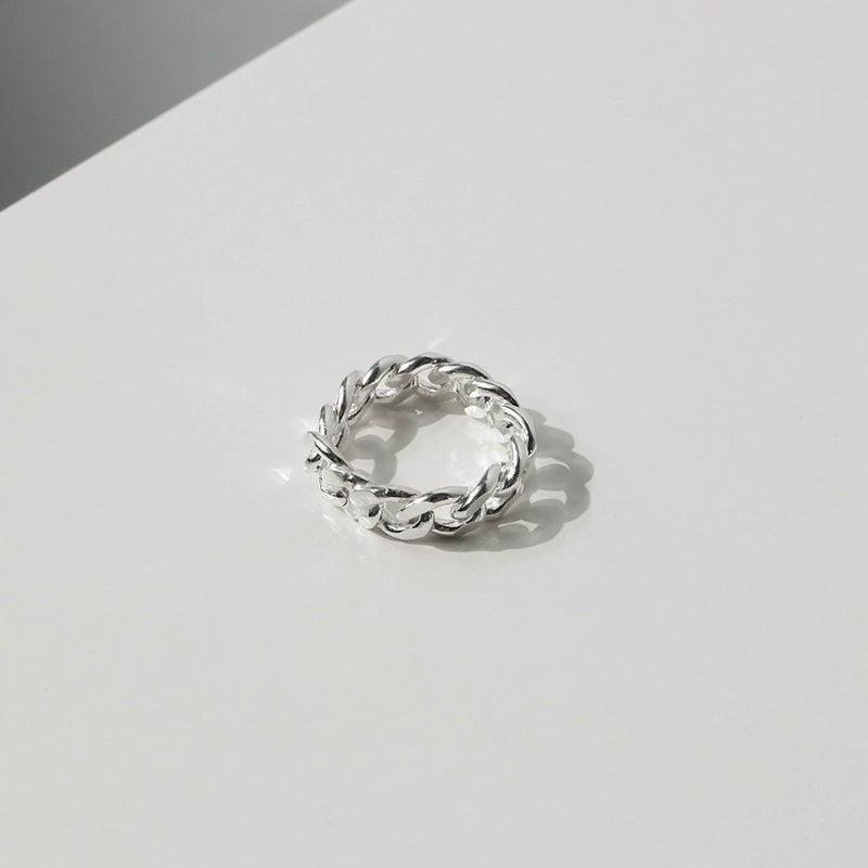 925 |Handcrafted| Flat Link Chain Mens Ring <br><font>Size 12•16•18•23•27</font>