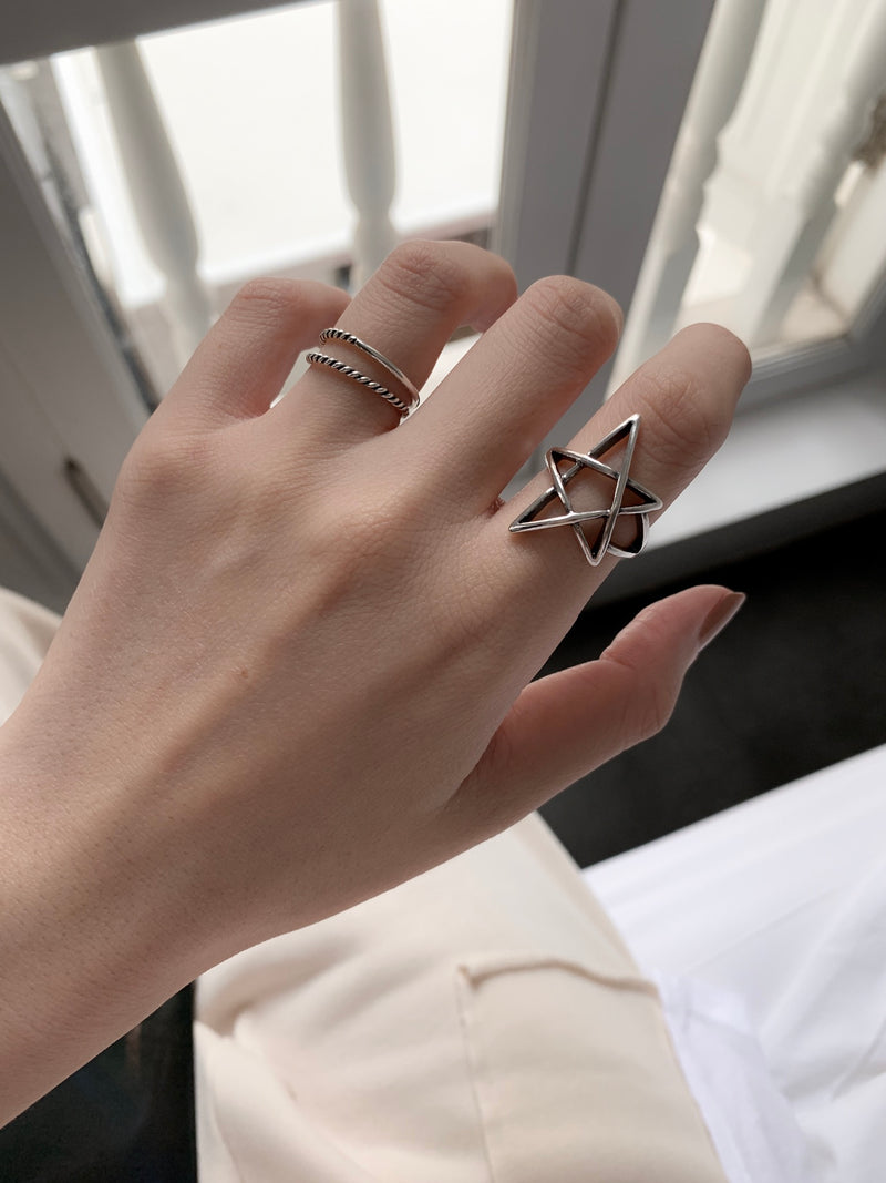 925 |Handcrafted| Be A Star Ring <br><font>Size 11•12•14</font>