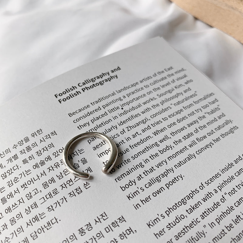 925 |Handcrafted| Tiny Tail Open Ring <br><font>Size 9•11•13•15</font>