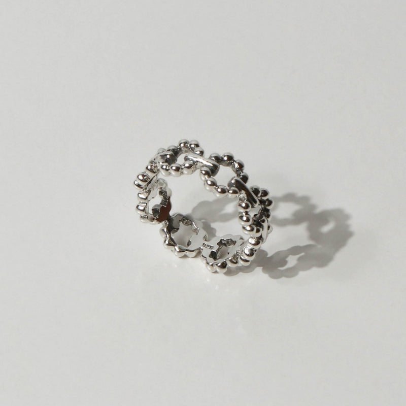 925 |Handcrafted| Circle Beads Chain Ring <br><font>Size 13•16</font>