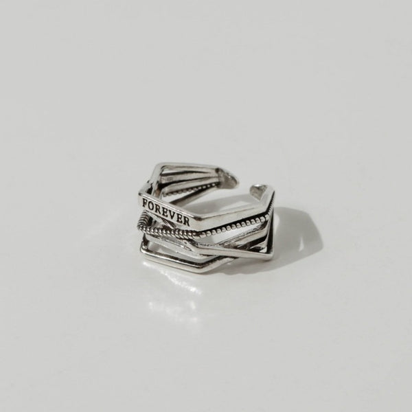 925 |Handcrafted| Forever Open Ring <br><font>Size 12</font>