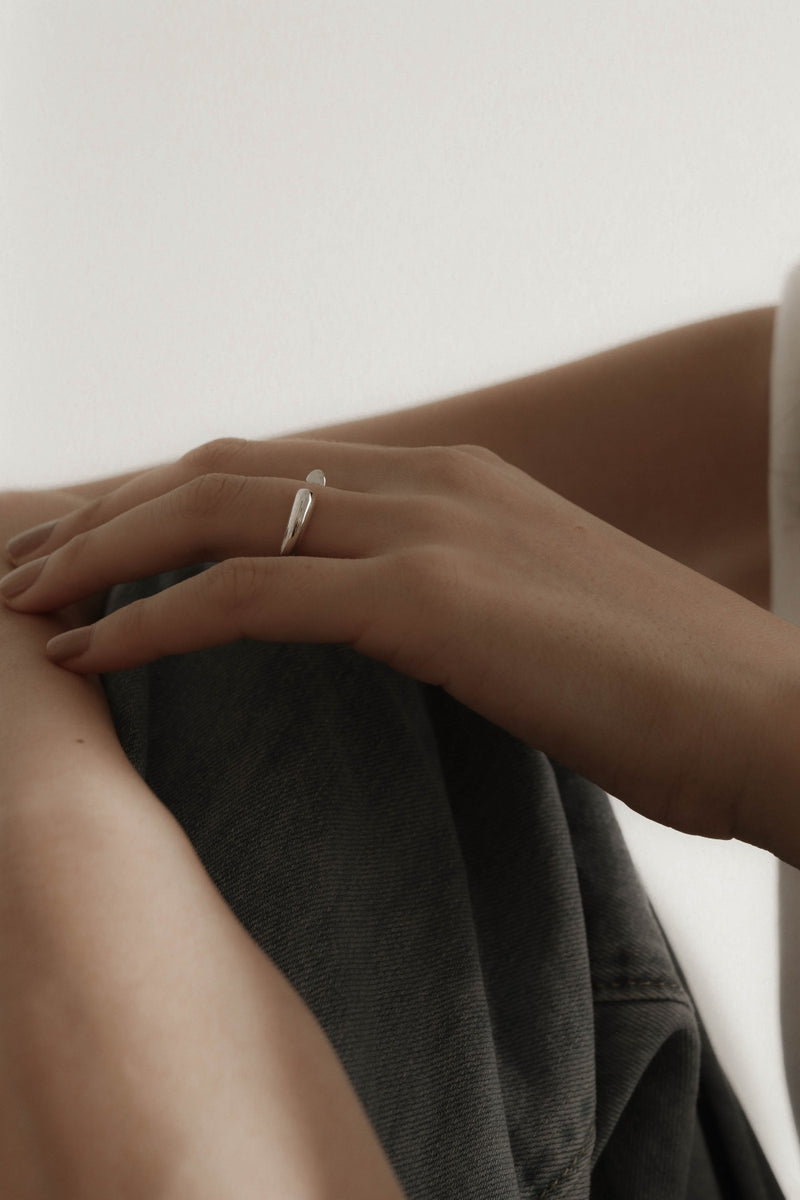 925 |Handcrafted| Dainty Heart Open Ring <br><font>Size 9•11•13•15</font>