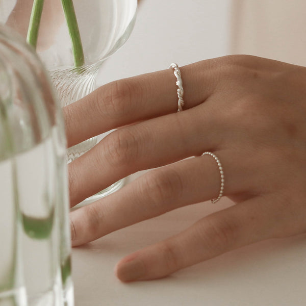 925 |Handcrafted| Beads Chain Ring <br><font>10•11•12•13</font>