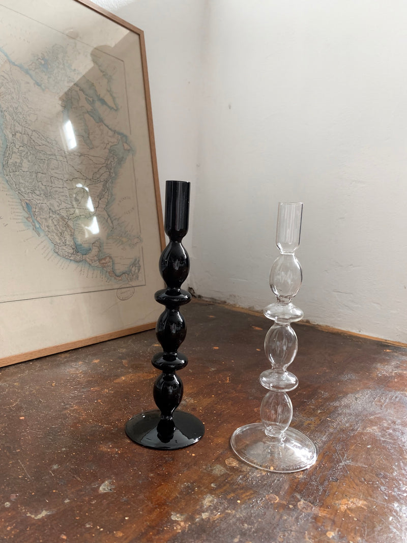 Alice Black Glass Candle Stand