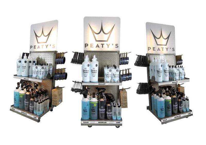 Peaty's Half 2 Tier Display Tower inc. POS Pack - MD2 Distribution - Wholesale Distributors of Cycling Parts in the United States