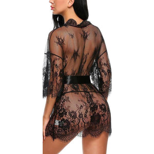 Translucent Lace Nightgown (Lace thong + Silk belt) - 2 Colors available - nightgown
