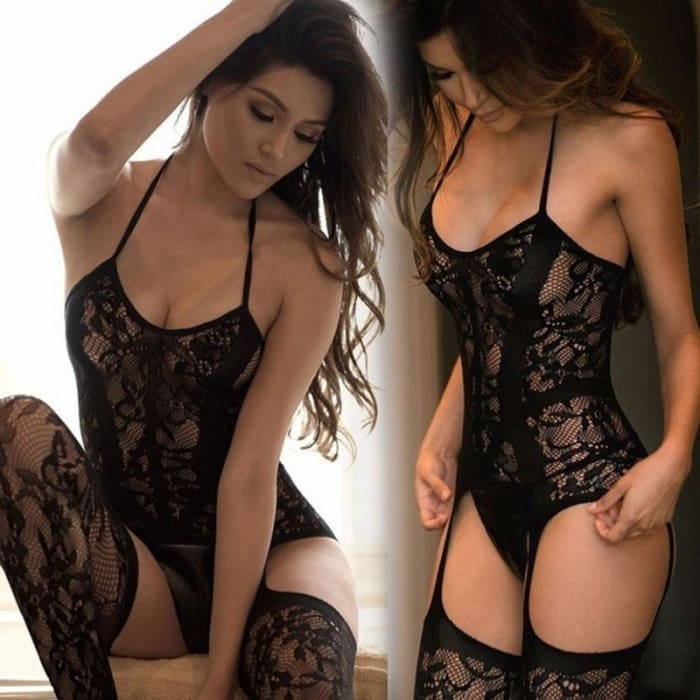 Noir - Limited Edition (Sensual Lace Bodysuit & Stockings) - Mischievous Black - Bodysuit