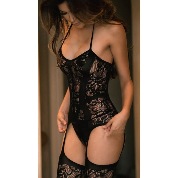 Noir - Limited Edition (Sensual Lace Bodysuit & Stockings) - Bodysuit