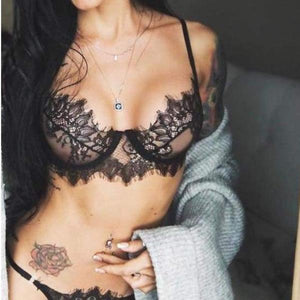 Exquisite Lace Set (Push Up Transparent Floral Bra & Lace Wire Floral Thong) - 2 Colors Available - Lace Transparent Set