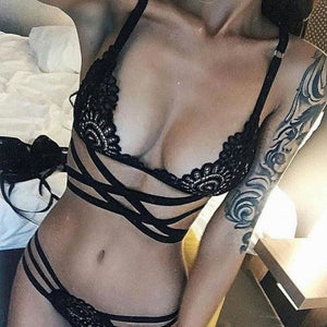 La Fasciatura Set (Translucent Bandage Lace Cross Belt Bra & Lace Provocative Striped Thong) - Bandage Lace Cross Belt Translucent