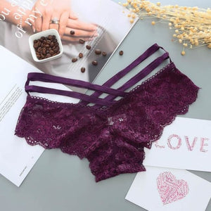 Lace Low-Rise Bandage Panties - 6 Colors Available - Rose Ash Purple / One Size - Panties