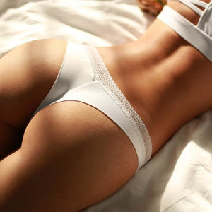 Embroidered Cotton Seamless Elastic Panties - 7 Colors Available - Pearl White / M - Panties