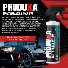 Load image into Gallery viewer, PRODUXA Waterless Car Wash - Made with Our Nano Tech Polymer Formula, Eco Friendly, No Water Needed, No Hoses, No Mess, Portable, 16 oz