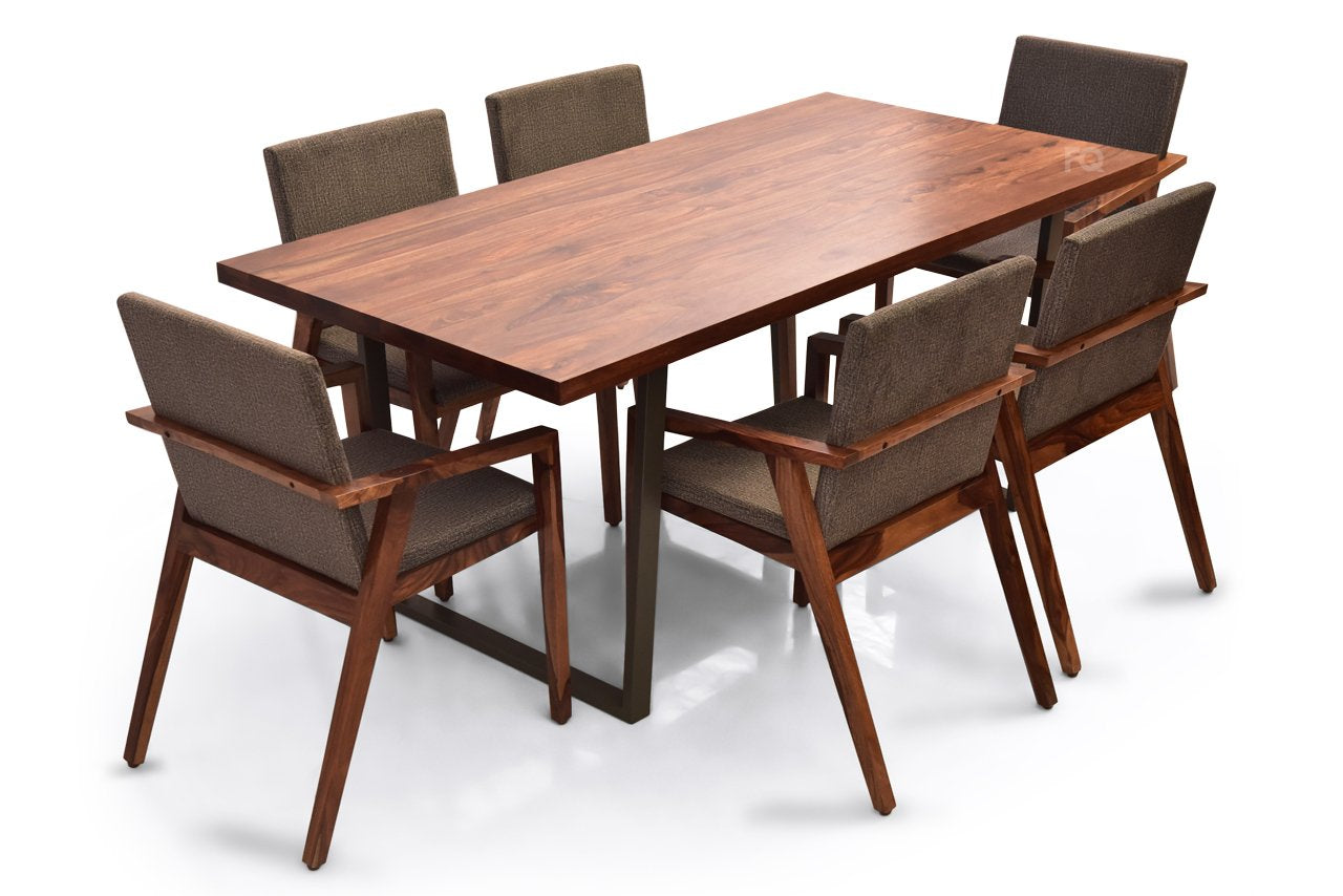 Chelsea - Max 6 Seater Dining Set in Teak Finish