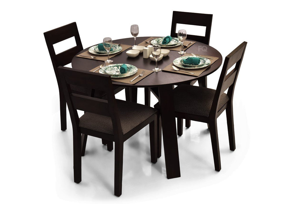 Ella - Bryan 4 Seater Round Dining Set in Mahogany Finish