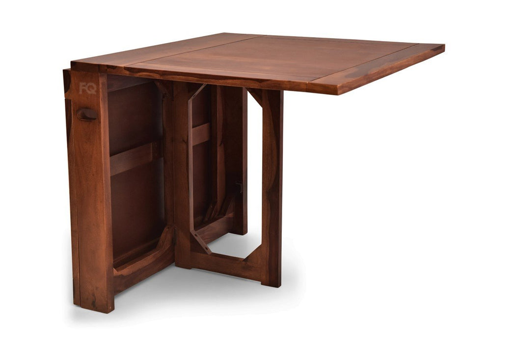 Macy Foldable Dining Table in Teak Finish