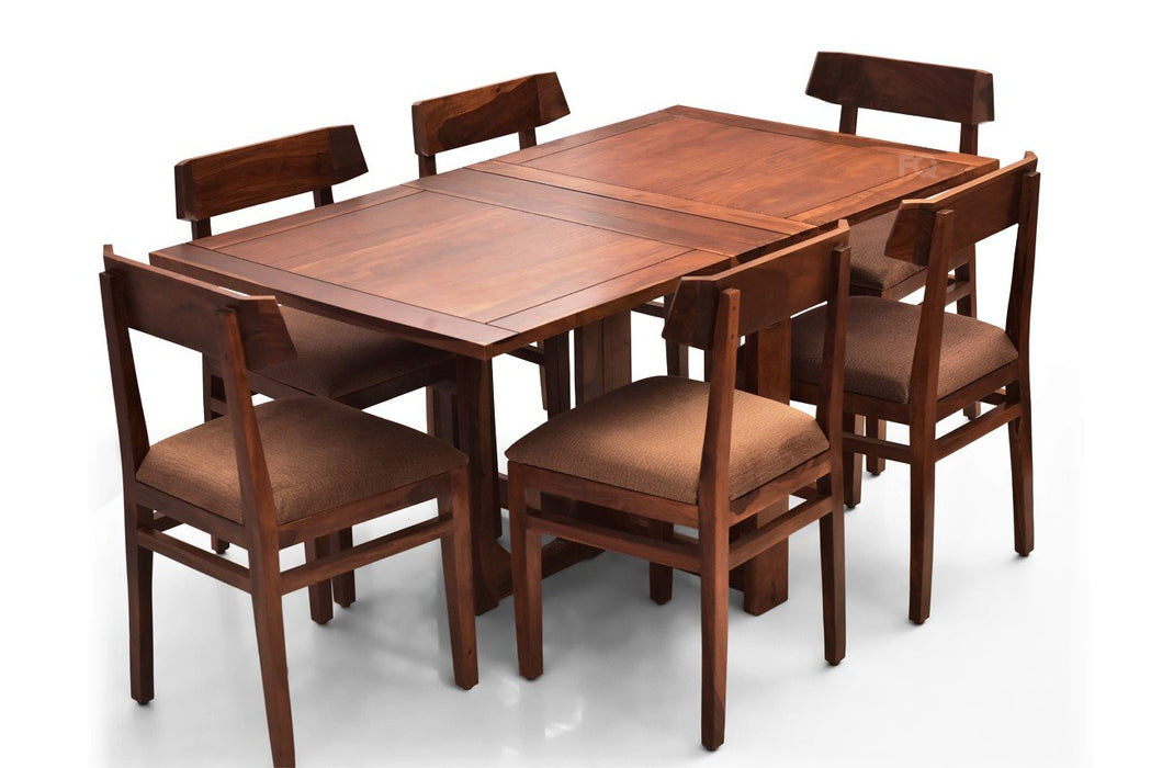 Macy - Robert 6 Seater Foldable Dining Set in Teak Finish