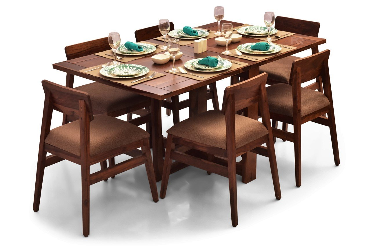 Macy - Ryder Foldable 6 Seater Dining Set in Teak Finish