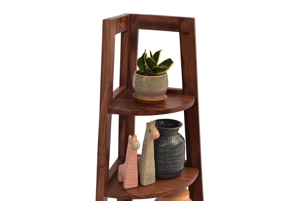 Alvina Corner Cabinet in Teak Finish