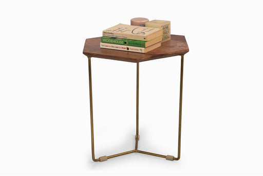 Hex Side Table in Teak Finish