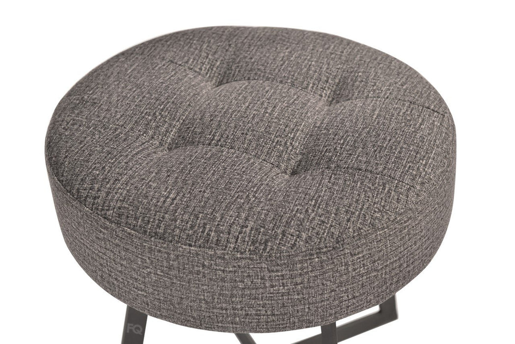 Toshi Round Sitting Stool in Grey Fabric